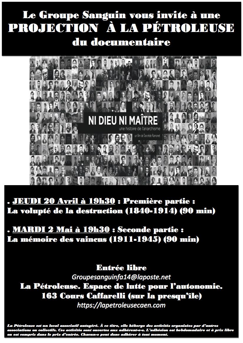 [mar. 02/05] Projection du documentaire « Ni Dieu ni Maître. Une histoire de l'anarchisme » (2epartie)